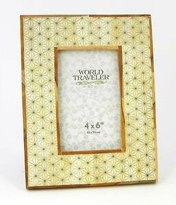Photo Frame Natural Bone With Etched Star Design and Wood Borders India 4x6