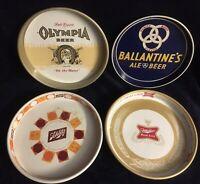 4 Vintage Beer Trays Olympia Ballantine's Miller High Life Schlitz Nice Trays!