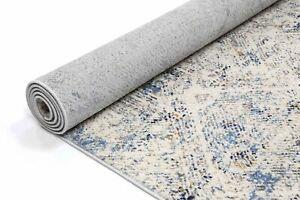 Drayton Mosaic Distressed Cream Blue Transitional Rug Runner 80x300cm **NEW**