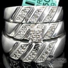 Men Ladies White Gold Finish Square Trio Genuine Diamond Wedding Ring Set 0.08ct