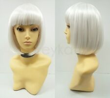 White Short Bob Wig Straight Bangs Synthetic Cosplay Page Boy 9""