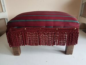 Footstool Foot Rest Wooden Frame Legs Red Stripes Fabric Top Furniture Home Deco