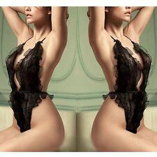 Women Sexy Black Teddy Lingerie Babydoll Sheer See-thru Lace Sleepwear Underwear