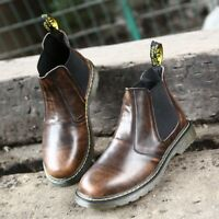 New Men Fashion Faux Leather Chelsea Boots Casual Loggers Ankle Boots Work Shoes