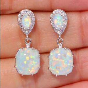 Princess Cut Blue/White Opal Ear Studs Womens White Gold Filled Wedding Earrings