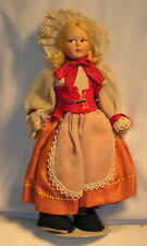 "Vintage Polish? Girl Cloth Doll 9"" Tall Blonde Mohair Peach Skirt Lace Red Felt"