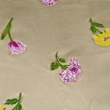 "Flowers Embroidered on Cream Cotton Fabric, 56"" W Home Decor, BTY"