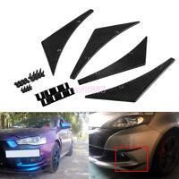 4 Pcs Carbon Fiber Autos Front Bumper Splitter Fin Spoiler Canards Exterior Body