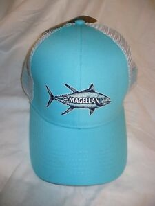 Magellan Outdoors Men's Hat Cap Sketched Tuna Pool White Color Snap Back NEW