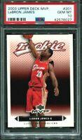 2003 04 Upper Deck Lebron James PSA 10 #201 RC Rookie Cavaliers Lakers