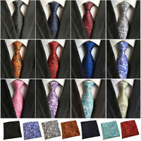 Men's 100% Silk Paisley Tie Jacquard Woven Necktie Pocket Square Handkerchief