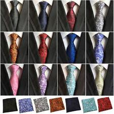 Men's Classic Silk Paisley Tie Jacquard Woven Necktie Pocket Square Handkerchief
