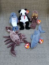 (5) Ty Beanie Babies, Nwt, Echo, Fortune, Jolly, Stinger, Crunch