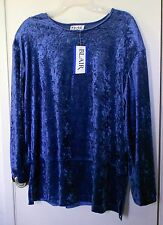 NEW!! Teddi. Blue long sleeve velour pullover blouse size L