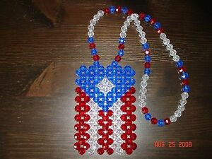 *HANDMADE* PUERTO RICO RICAN BEADED FLAG for car's rearview mirror, necklace