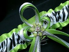 Bling! Apple Green ZEBRA Glitter GARTER Prom Wedding Formal Bridal Exotic Dancer