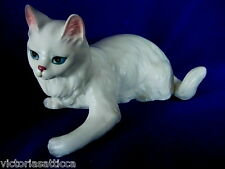 Collectible Lefton H2919 Long Hair White Ceramic Cat Figurine - Blue Eyes