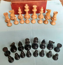 QUALITY  Antique Victorian loaded Staunton CHESS SET - Boxed K 3.5 inch / 90 mm