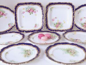 Antique Adderley dessert service, handpainted flowers, cobalt blue and gilt
