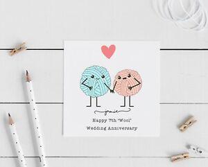 Personalised 7th wedding anniversary card, wool, husband, wife couple love