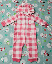 Carters Infant Girl 9 Months Pink & White Fleece Coveralls Zip Up *Nwd*