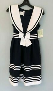 NWT $74 BONNIE JEAN Girl's Sailor Navy/White Nautical Dress - Size 16 NEW