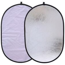 """24x35"""" Silver/White Oval Light Reflector Collapsible Photography 60x90cm"""