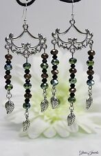Glass Jewels Silber Ohrringe Ohrhänger Hippie Statement Chandelier Boho #L062