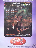 PUBLICITÉ 2003 RADIO CHÉRIE FM NIGHT OF THE PROMS - ADVERTISING
