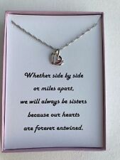Sterling silver plated Entwined Hearts necklace With poem for Sister