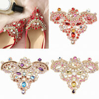 1Pair Rhinestones Shoe Clip Glass Resin Drill Iron On Pearl Patch Shoe Applique
