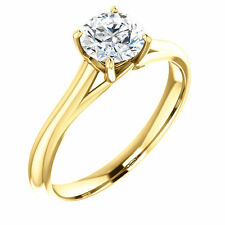 Semi Mount Setting Cathedral 14k Yellow Gold Round Engagement Solitaire Mounting