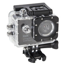 iTek Waterproof 1080p Full Hd Black Pro Sports Action Camera With Helmet Mount