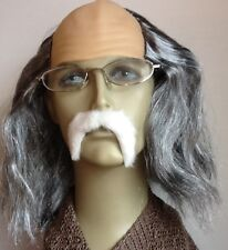 MAD PROFESSOR GREY BALDY FANCY DRESS WIG & WHITE THICK DROOP MOUSTACHE
