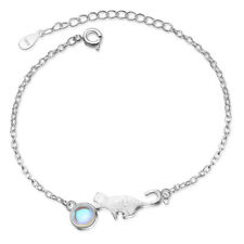 Muye 925 Sterling Silver Moonstone Cat Style Bracelet For Women Fashion Jewelry