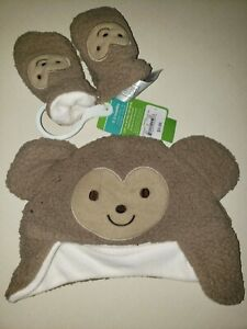 CARTER'S NEW NWT baby boys FLEECE HAT MITTENS SET size 0-3 month brown CUTE @@