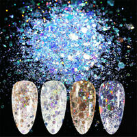 8 Boxes/Set Nail Glitter Sequins Flake Sparkly 3D Hexagon Nail Art Decorations