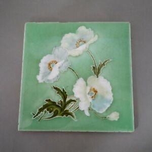 BEAUTIFUL ENGLISH ANTIQUE ART NOUVEAU RELIEF MOULDED POPPY TILE GREEN/BLUE/BROWN