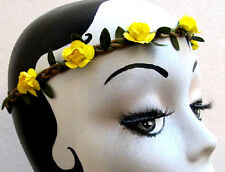 ROSE Yellow Flower Headband  Braided Leather Crown Hair Elastic Boho Hippie