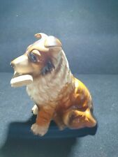 More details for vintage collie dog holding paper ornament pottery collectable japan stamp