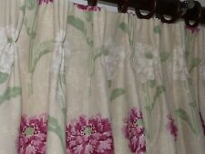 LAURA ASHLEY Ruskin CURTAINS 51% Linen SHABBY COTTAGE CHIC Blanket Interlined