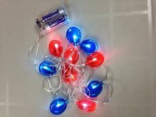 LED String Light (10 Light Set) Blue and Red Battery powered (2 AA Batt Required