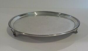 "English GEORGIAN Sterling Silver 8"" Footed Tray / Salver, c. 1784"