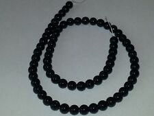 6MM Natural Black Rhombus Gemstone Round Spacer Loose Beads About 68pc. NEW