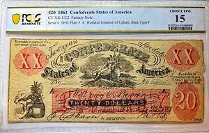1861 XX1/C2 $20 FEMALE RIDING DEER Confederate Fantasy Note - PCGS Choice F 15