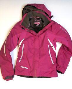 Salomon Women's Snowboard Jacket Pink XS Hooded Snow Coat Removeable Hood