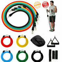 11PCS Resistance Bands Workout Exercise Fitness Yoga Pull Tubes Gym Strength