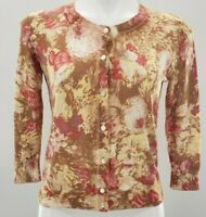 TALBOTS SMALL FLORAL 3/4 SLEEVE CARDIGAN BUTTON UP KNIT COTTON SWEATER