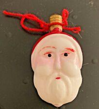 Antique Milk Glass Electric Christmas Light Bulb Santa Claus Head 2 Sided Works!