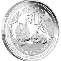 2011 YEAR OF THE RABBIT 1oz SILVER LUNAR ISSUE Coin in Capsule